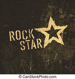 stjärna, fläckat, vektor, vagga, grunge, icon., struktur