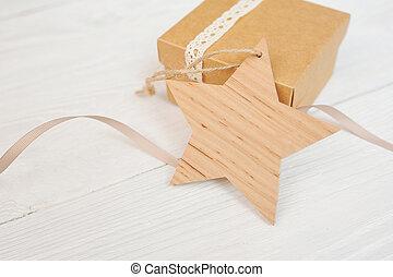 stjärna, gåva, mockup, trä, text, jul, bakgrund., etikett, vit, din