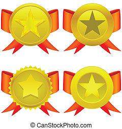 stjärna gestaltade, medaljer