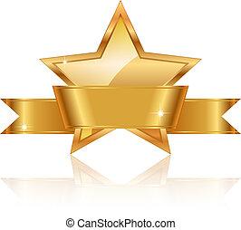 stjärna, guld, pris