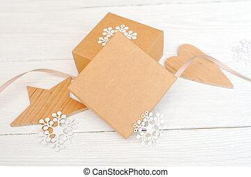 stjärna, hjärta, gåva, mockup, trä, text, utrymme, jul, rutor, din