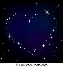 stjärna, hjärta, in, natt himmel