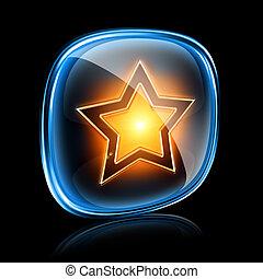 stjärna, ikon, neon, isolerat, på, svart fond