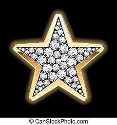 stjärna, in, diamanter