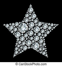 stjärna, in, diamonds.