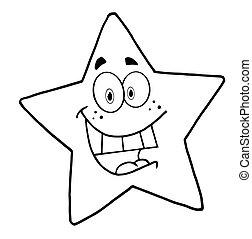 stjärna, maskot, tecknad film, tecken