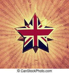 stjärna, med, uk, flagga