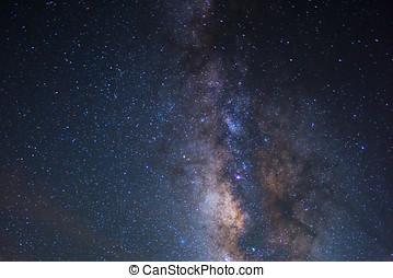 stjärna, natt, -, natt scen, vintergatan, bakgrund, in, den,...