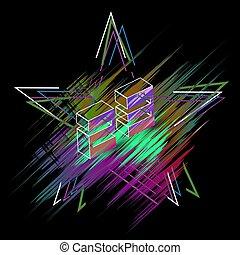 stjärna, på, februari, 23, med, a, glitch, på, den, multi-colored fond, in, den, bilda, av, a, slag, -, vektor, eps10
