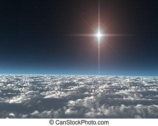 stjärna, skyn, ovanför