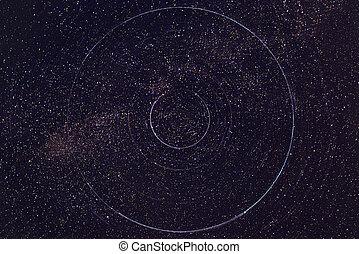 stjärna spår, in, den, natt himmel