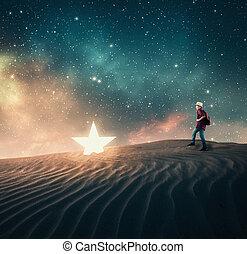 stjärna, spring, fallen