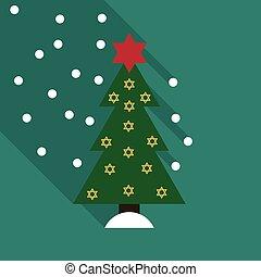stjärna, träd, illustration, vektor, dekorerat, jul