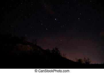 stjärnbeströdd himmel, fjäll