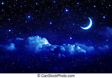 stjärnbeströdd himmel, med, hälft måne