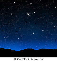 stjärnbeströdd himmel, om natten