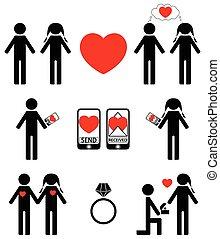 stjärnfall, förbindelse, kärlek, ikon