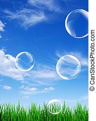 stjärnfall, sky, bubblar, jord