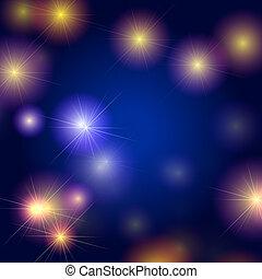 stjärnor, bakgrund, in, blå