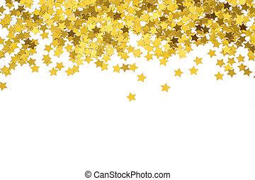 stjärnor, guld, border., ram, strödd, stars., nat, foiled