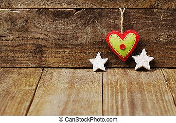 Stjärnor, hjärta, Trä, filt, handgjord, Utrymme, bakgrund, vit, avskrift