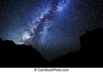 stjärnor, in, den, natt himmel, vintergatan, g