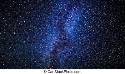 stjärnor, in, den, natt himmel, vintergatan, galax