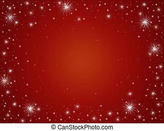stjärnor, in, röd