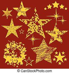 stjärnor, kollektion, ., vektor, set.