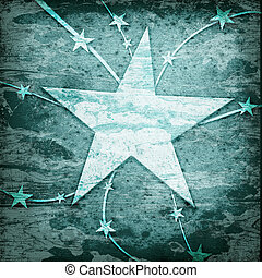 stjärnor, med, fodrar, på, den, grunge