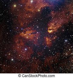 stjärnor, nebulosa, in, space.