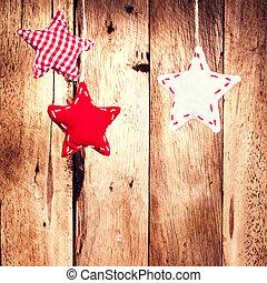 Stjärnor, Trä,  över, vägg,  hangind,  ho, bakgrund, jul, röd