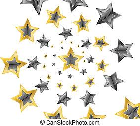 stjärnor, vektor, illustration