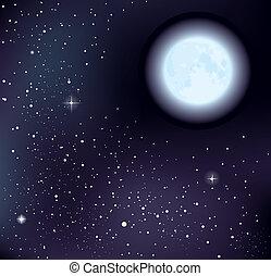 stjærneklare, vektor, himmel, måne