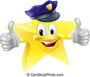 stjerne, cartoon, betjenten