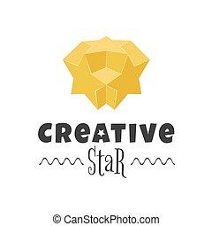 stjerne, farverig, symbol, kreative, vektor, konstruktion, logo, element., 3