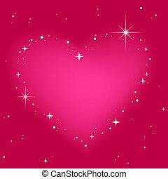 stjerne, hjerte, ind, lyserød himmel