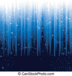 stjerner, og, sneflager, på, blå, stribet, baggrund.,...