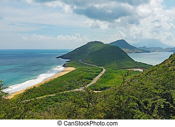View of beach in St.Kitts, Caribbean