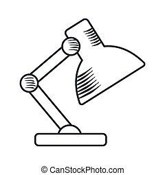 stołowa lampa, handdraw, ikona