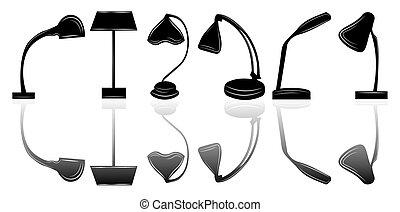 stołowa lampa, komplet