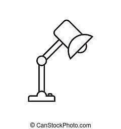 stołowa lampa, linearny, ikona