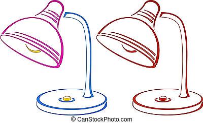 stołowa lampa, piktogram