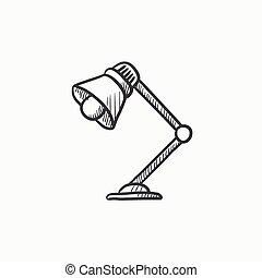 stołowa lampa, rys, icon.