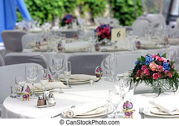 stoły, położony, przyjęcie, ślub