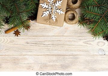 stożki, jodła, górny, anyż, sosna, tło., zawinięty, białe boże narodzenie, płaski, gwiazda, kabiny, tło, kraft, gałęzie, dar, papier, drzewo, drewniany, cynamon, pieśń, prospekt