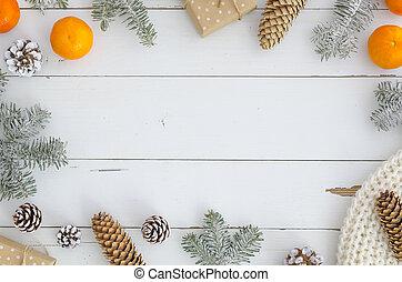 stożki, ułożyć, projektować, rok, modny, stół, prospekt., szalik, jodła, mockup, górny, mande, pomarańcza, nowy, białe boże narodzenie, boks, ręka, mandaryn, wesoły, ozdoby, background.xmas, dar, drewniany, gałąź, deski