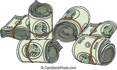 sto dolarów, plik, banknotes, jeden, dziąsło