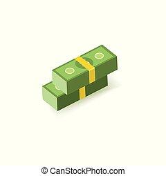 sto, pakuje, notatki, dolar, dwa, jeden, banknotes, papier, zielony, pile.
