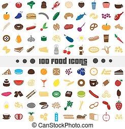 sto, rozmanitý, strava i kdy vypít, barva, ikona, big, dát, eps10